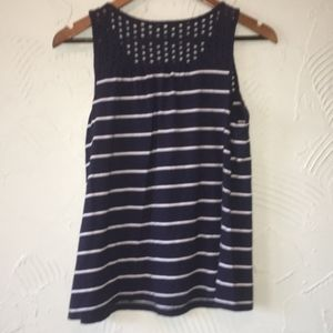 Navy Striped Eyelet Lace Tank Top